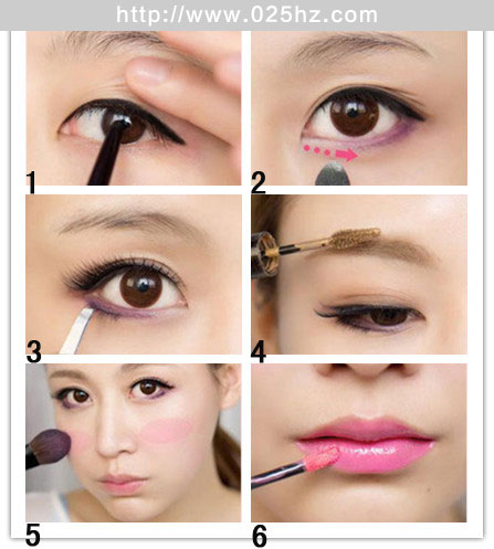 紫色梦幻精灵眼妆分解图